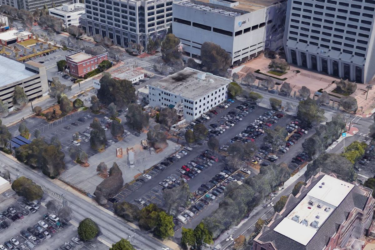 An aerial view of the large parking lot.