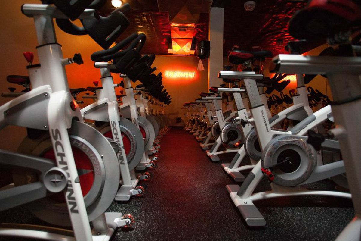 """At SYNCSTUDIO, you cycle in the Bass-ment. Photo by <a href=""""http://www.rebeccadalephotography.com"""">Rebecca Dale</a>."""