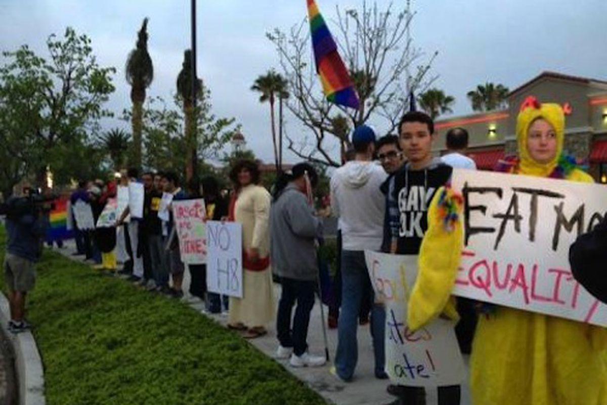Protestors at a Laguna Hills Chick-Fil-A.