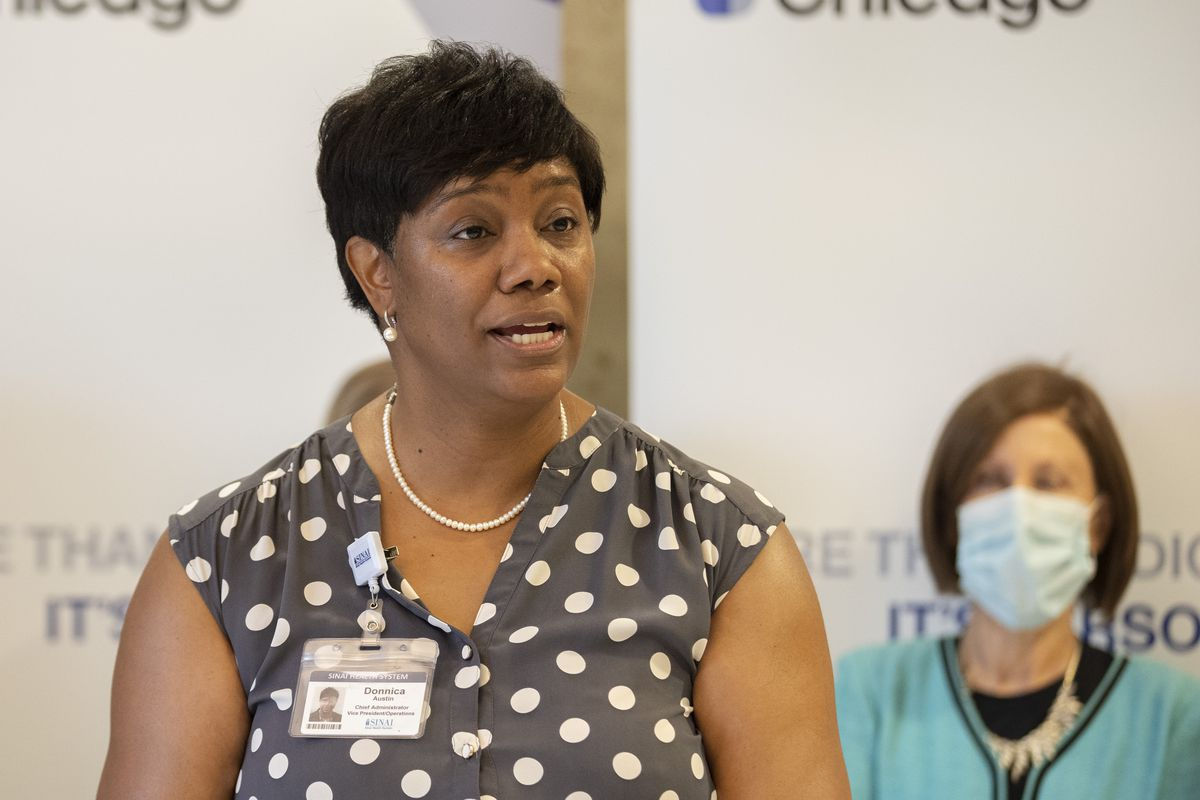 Donnica Austin-Cathey, president of Holy Cross Hospital, speaks at a ribbon cutting ceremony for its new Center for Addiction Treatment and Recovery at Holy Cross Hospital. Wednesday, August 11, 2021. | Brian Rich/Sun-Times