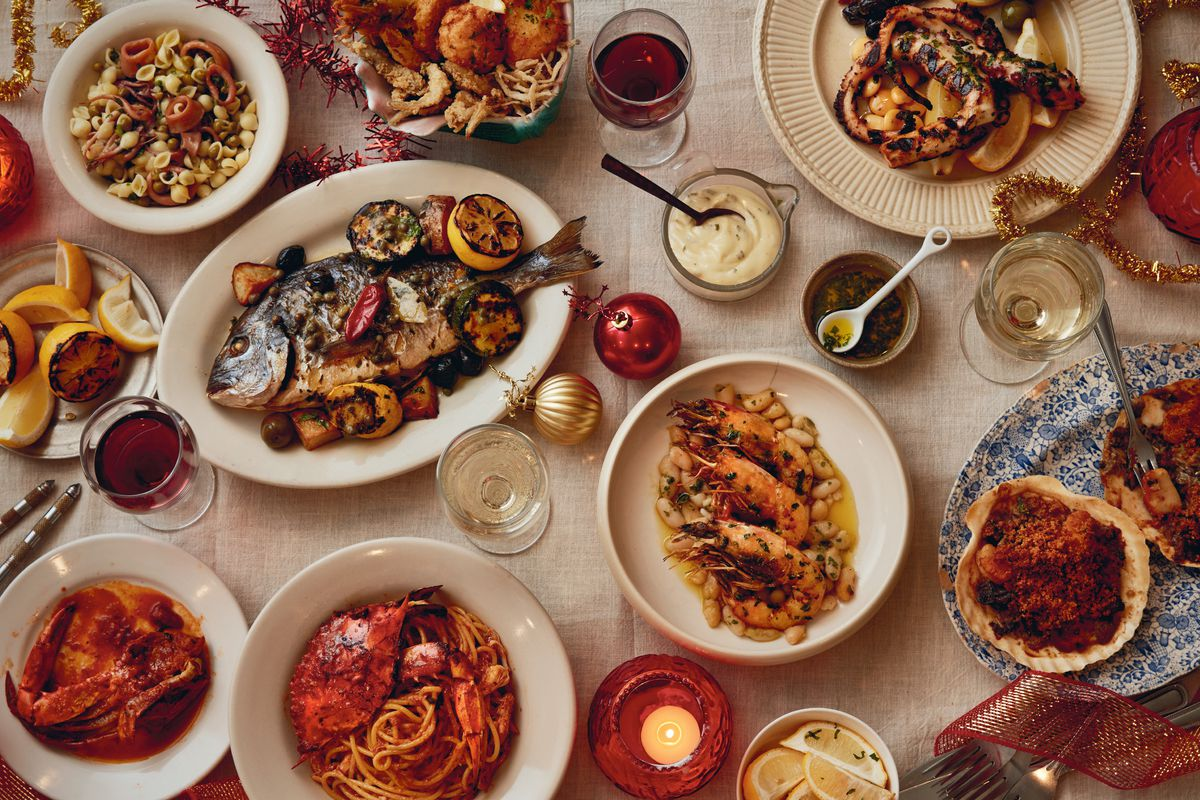 feast of seven fishes spread on a table