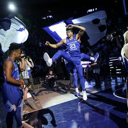 Brigham Young Cougars forward Yoeli Childs (23) enters the court before the game against the Utah Utes at the Marriott Center in Provo on Saturday, Dec. 16, 2017.