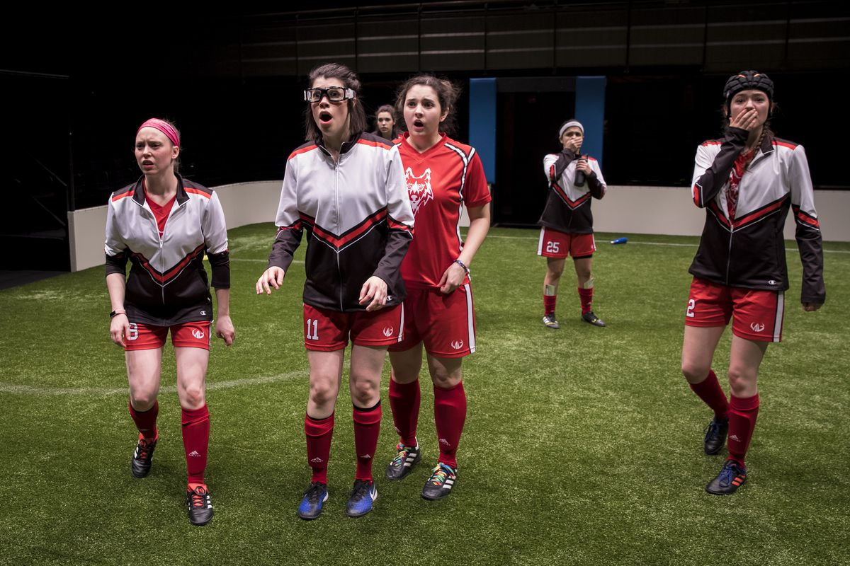 """Player No. 8 (Cydney Moody from left), No. 11 (Sarah Price) No. 7 (Natalie Joyce), No 13 (Mary Tilden), No. 25 (Isa Arciniegas) and No. 2 Taylor Blim (#2) in a scene from """"The Wolves.""""   Liz Lauren"""