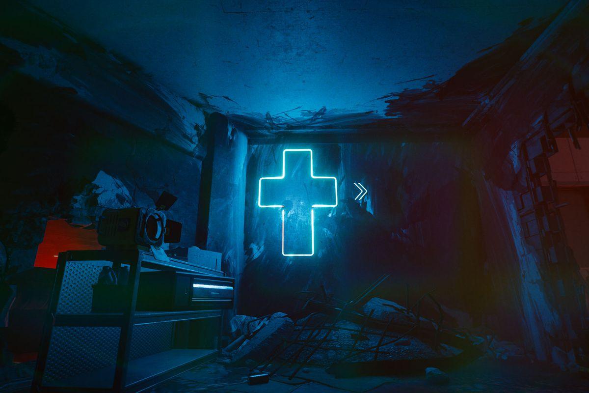 A glowing blue cross in Cyberpunk 2077