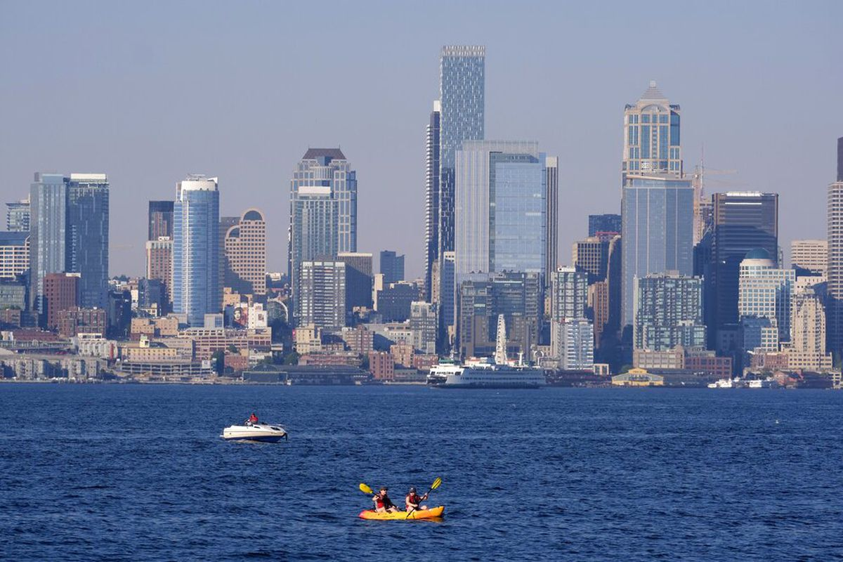 The Seattle skyline during a heat wave hitting the Pacific Northwest.