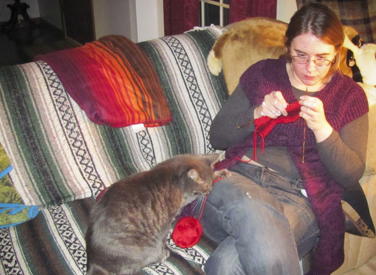 Caitlan Coleman knitting, from around winter 2011.