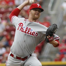 Philadelphia Phillies starting pitcher Tyler Cloyd throws against the Cincinnati Reds in the first inning during a baseball game, Monday, Sept. 3, 2012, in Cincinnati.