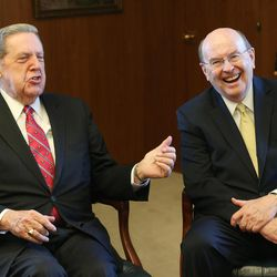 Elder Jeffrey R. Holland, left, and Elder Quentin L. Cook, former mission companions in England in the early 1960s, talk about the anniversary and continued missionary work in Great Britain at the Church Administration Building  in Salt Lake City on June 23, 2017. They are now both members of the Quorum of the Twelve Apostles.