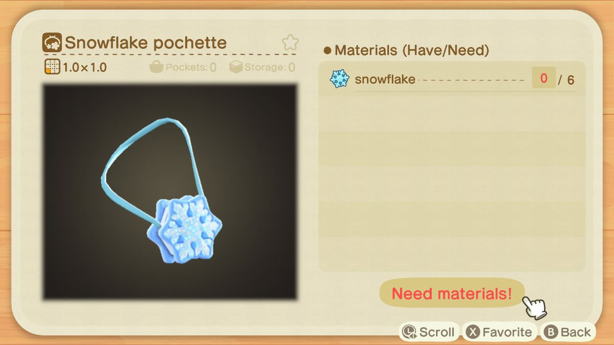 An Animal Crossing recipe for a Snowflake Pochette