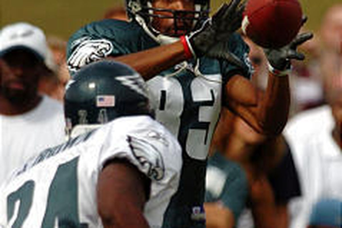 Greg Lewis, right, will be one of the Philly receivers expected to step up after the loss of Terrell Owens.
