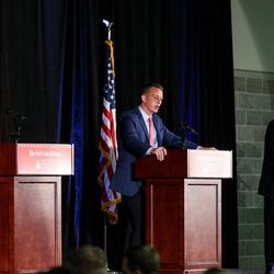 John Curtis, Tanner Ainge and Chris Herrod appear in the Republican debate for the 3rd Congressional District race at the Utah Valley Convention Center in Provo on Friday, July 28, 2017.
