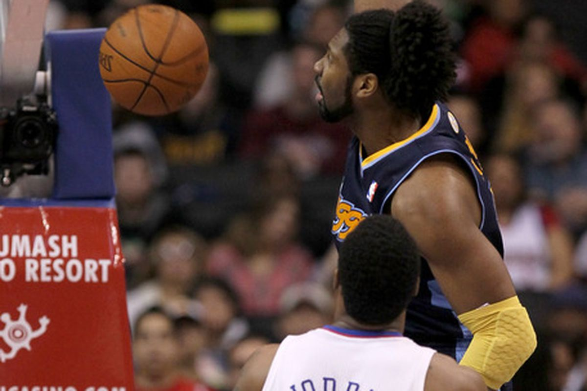 Nuggets Center Nene dunks the ball home in the Nuggets 100-94 loss to the Clippers