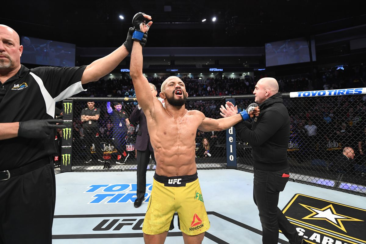 Deiveson Figueiredo reacts after defeating Joseph Benavidez in their flyweight championship bout during the UFC Fight Night event at Chartway Arena on February 29, 2020 in Norfolk, Virginia.