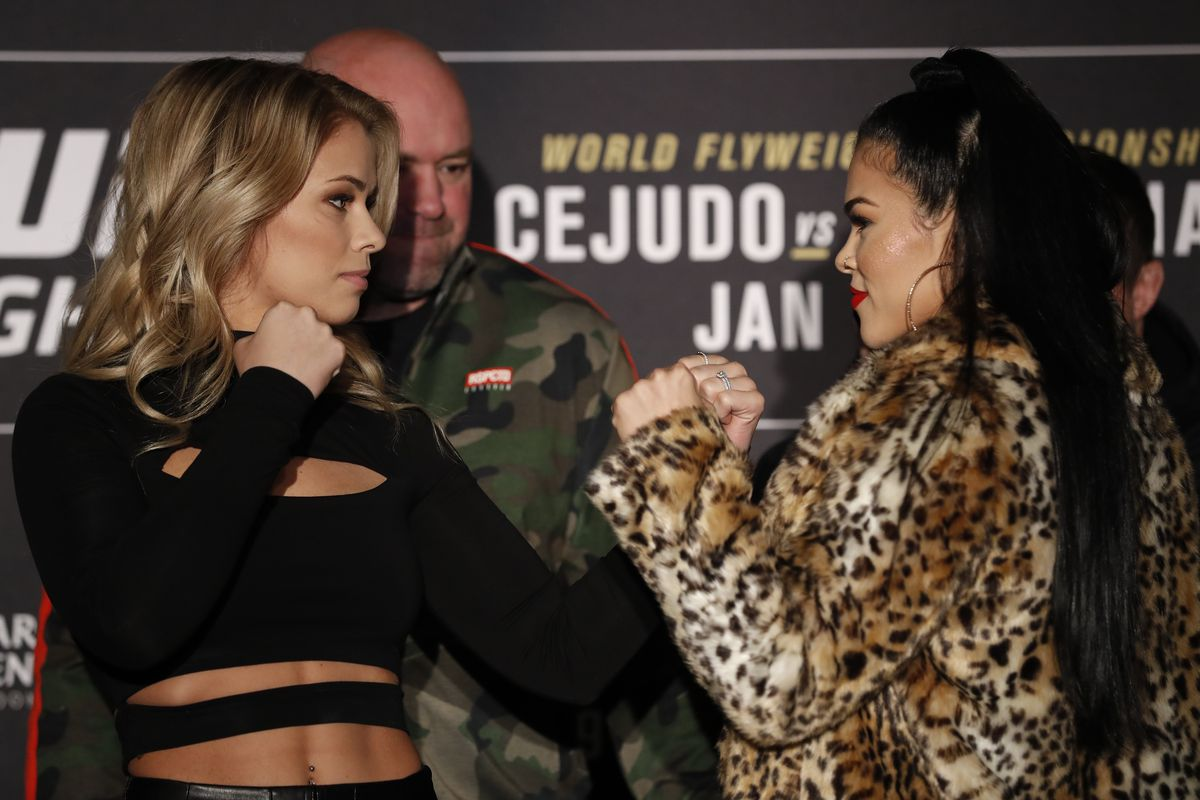 Paige VanZant and Rachael Ostovich during media day at UFC Brooklyn in 2019.