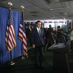 Republican presidential candidate and former Massachusetts Gov. Mitt Romney arrives to make comments on the killing of U.S. embassy officials in Benghazi, Libya, while speaking in Jacksonville, Fla.,  Wednesday, Sept. 12, 2012. (AP Photo/Charles Dharapak)
