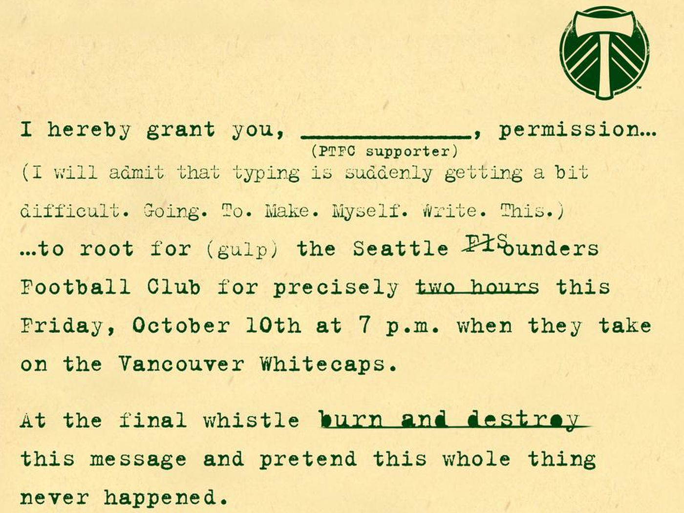 timbers letter gives fans permission to root for rival sounders sbnationcom