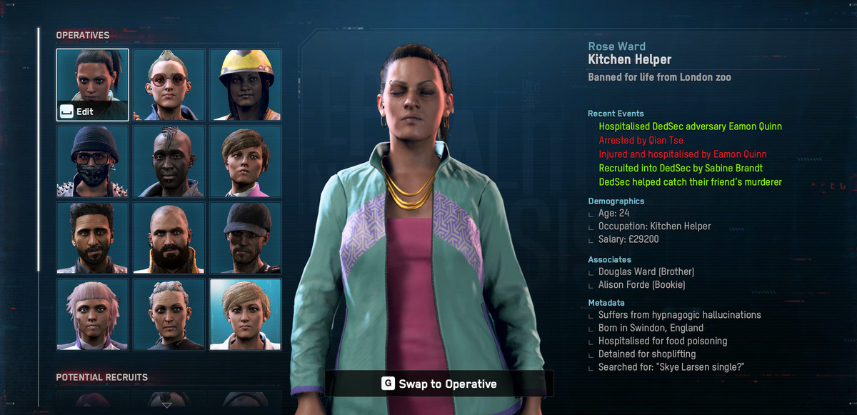 Watch Dogs Legion: a character profile for Rose Ward, head of a Dedsec cell
