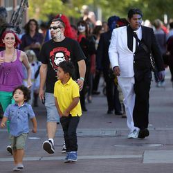 Crowds from a variety of events — including Salt Lake Comic Con, the Greek Festival, farmers market and a University of Utah football game — converge in Salt Lake City on Saturday, Sept. 6, 2014.