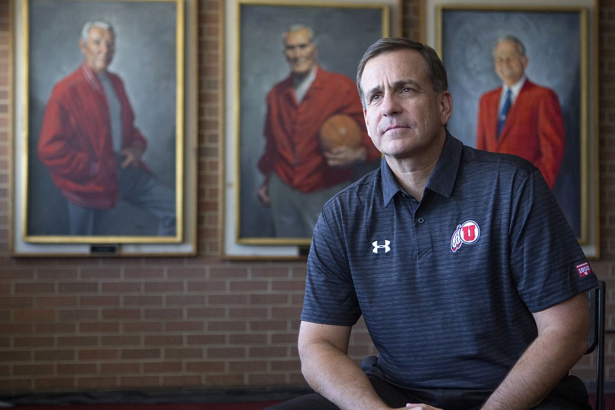 Mark Harlan, the new athletic director at the University of Utah, poses in front of portraits of former athletic director Isaac Armstrong, left, former head basketball coach Vadal Peterson and former athletic director James Jack at the Huntsman Center in Salt Lake City. Harlan was but one of many local sports figures to comment on social media after the death of George Floyd and ensuing protests.