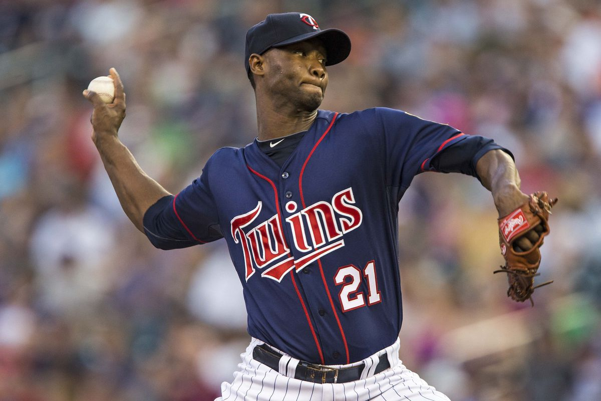 Aug 29, 2012; Minneapolis, MN, USA: Minnesota Twins starting pitcher Samuel Deduno (21) delivers a pitch in the first inning against the Seattle Mariners at Target Field. Mandatory Credit: Jesse Johnson-US PRESSWIRE