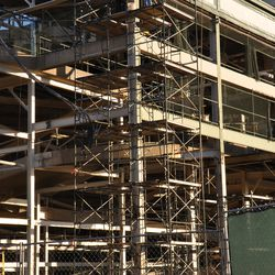 Scaffolding going up at the northwest corner of the ballpark.