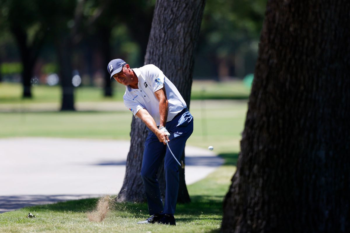 Matt Kuchar of the United States plays a shot on the third hole during the first round of the Charles Schwab Challenge on June 11, 2020 at Colonial Country Club in Fort Worth, Texas.