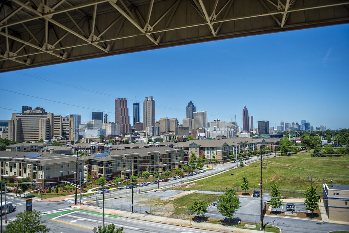 [The skyline, looking deceptively contiguous. Photos: Jonathan Phillips, Curbed Atlanta]