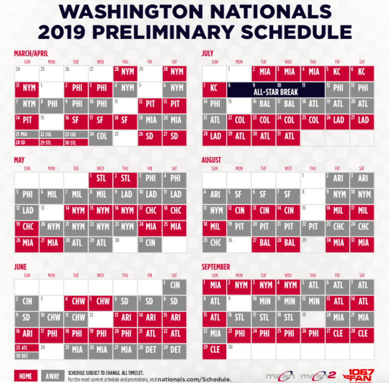Washington Nationals 2019 Schedule Washington Nationals' 2019 schedule released   Federal Baseball