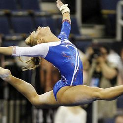 Florida's Randy Stageberg competes in the floor exercise during the semifinals of the NCAA college women's gymnastics championships, Friday, April 20, 2012, in Duluth, Ga. Florida advanced to the finals.