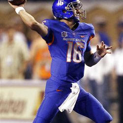 Joe Southwick of the Boise State Broncos passes the ball against BYU during NCAA football in Boise, Thursday, Sept. 20, 2012.
