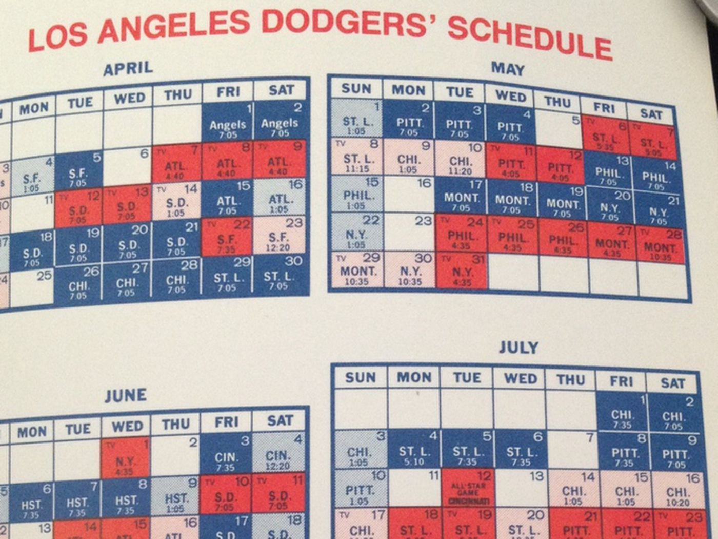 dodgers tv schedule, now and then - true blue la