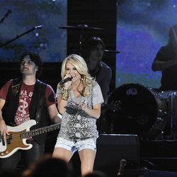 Singer Carrie Underwood performs at LaVell Edwards Stadium in Provo on Saturday.