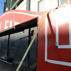 2:39 p.m. A closeup view of the marquee, loaded aboard the flatbed truck -