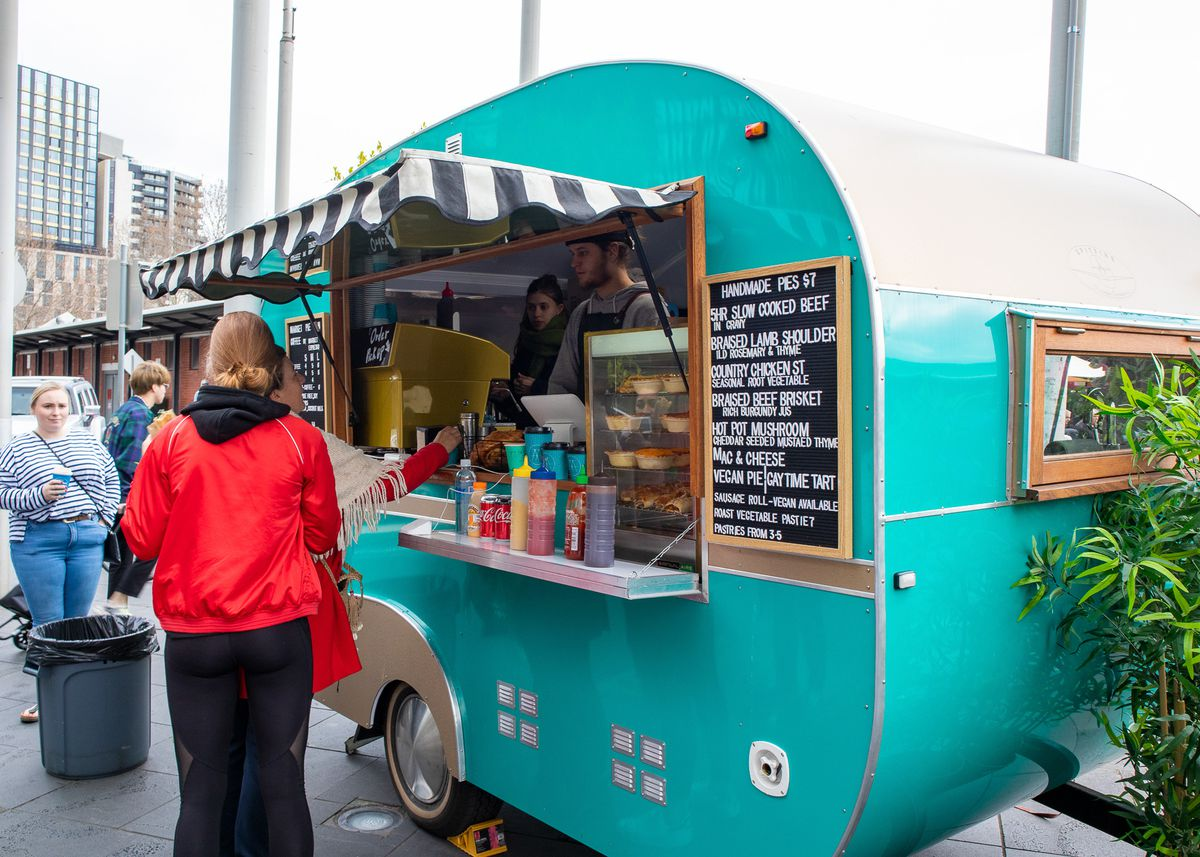 The turquoise camper at Market Espresso