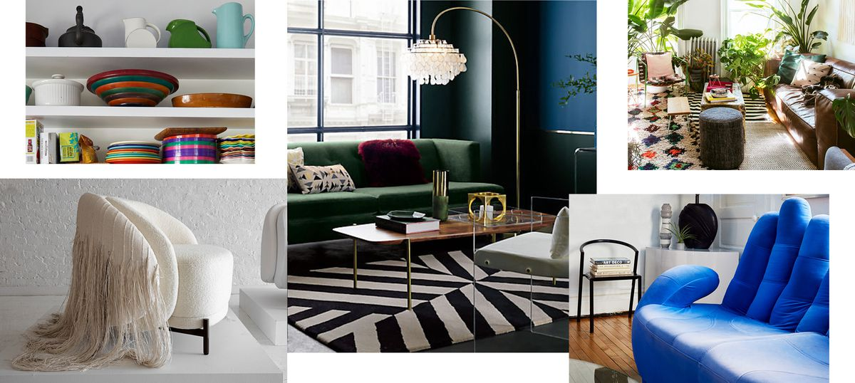 A collage of images showing an open shelf with colorful plates and Russel Wright ceramics; a living room with a black-and-white rug, emerald green sofa, acrylic armchairs; and a floor lamp with a crystal shade; a living room filled with plants, a Morroccan rug, denim ottoman, and brown leather sofa; a sofa in the shape of a blue hand; a white armchair with long shag upholstery hanging down behind it