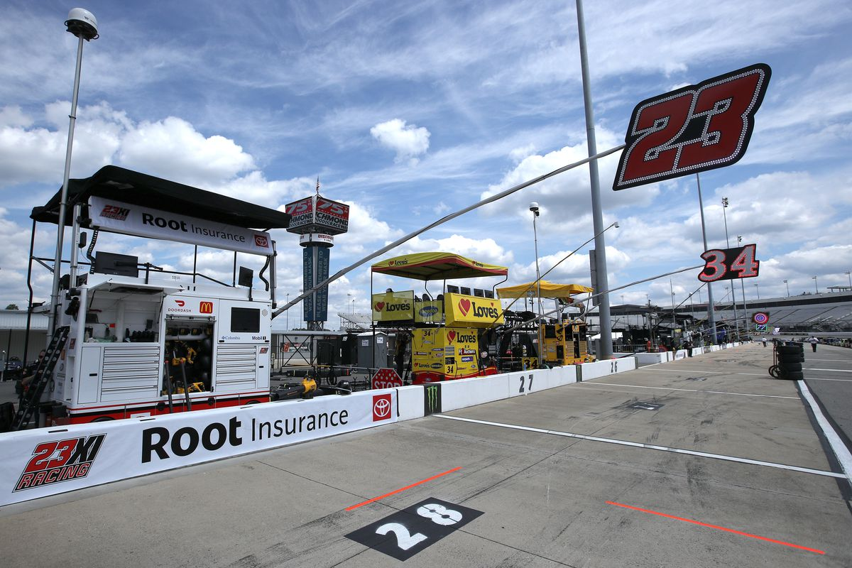 view of the pit box of Bubba Wallace, driver of the #23 Root Insurance Toyota, prior to the NASCAR Cup Series Toyota Owners 400 at Richmond Raceway on April 18, 2021 in Richmond, Virginia.