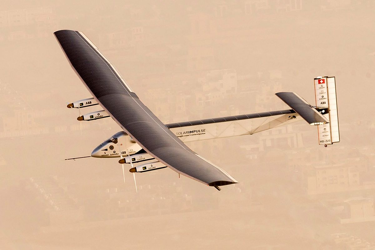 Solar Impulse 2, a solar-powered airplane, takes flight as it begins its historic round-the-world journey from Al Bateen Airport, on March 09, 2015 from Abu Dhabi, UAE.