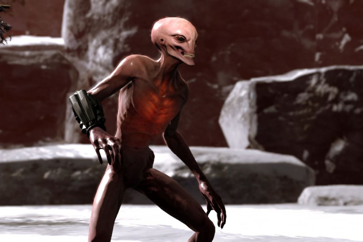 A gray alien standing in XCOM 2 on Nintendo Switch