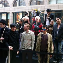 Fashion students wait on the risers