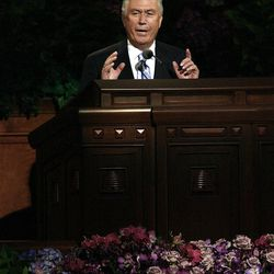 President Dieter F. Uchtdorf speaks during the morning session of the182nd Semiannual General Conference for The Church of Jesus Christ of Latter-day Saints in the Conference Center in Salt Lake City on Saturday, Oct. 6, 2012.