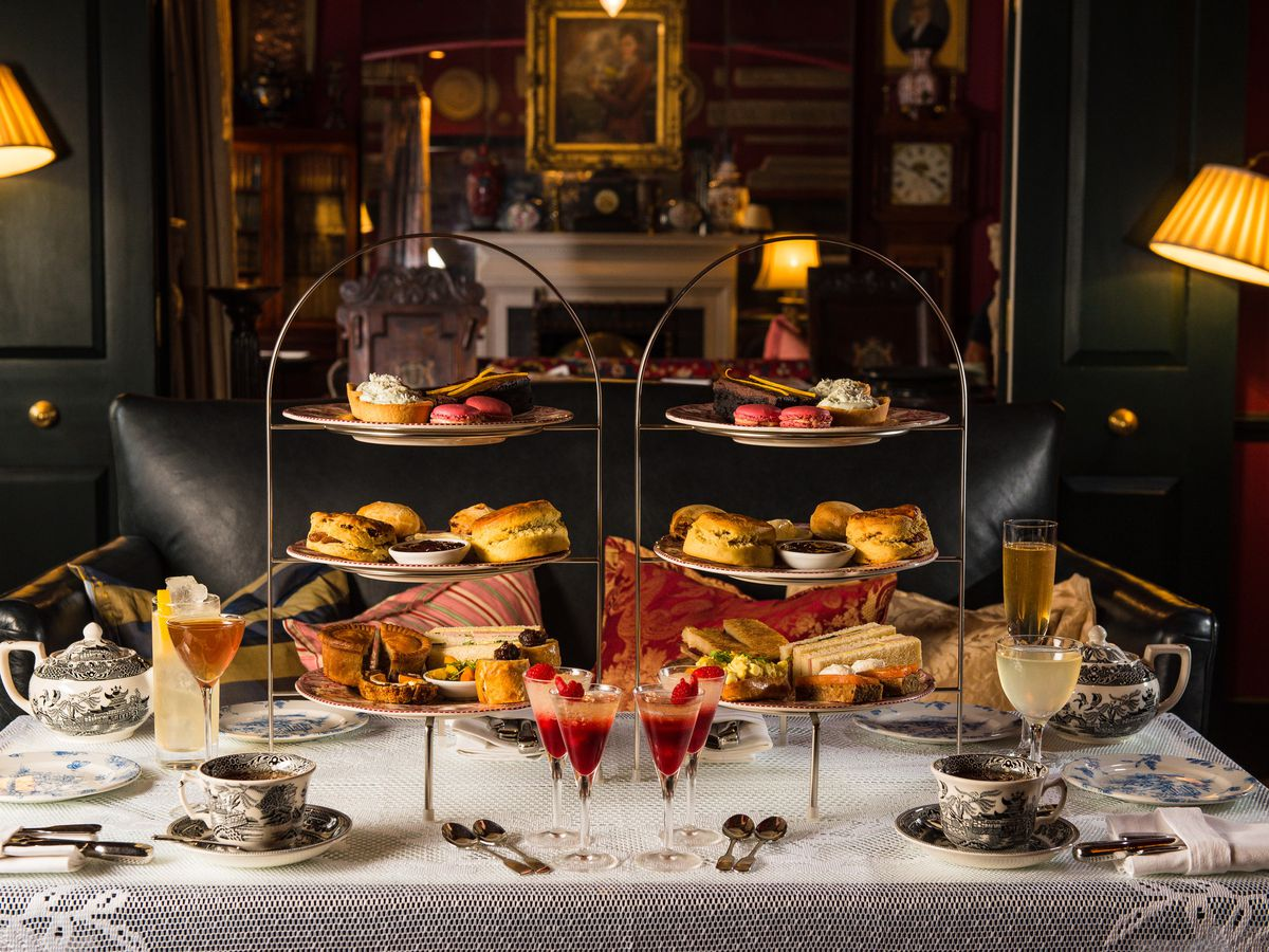 Afternoon tea at Zetter Townhouse Marylebone, with scones, sandwiches, and tea