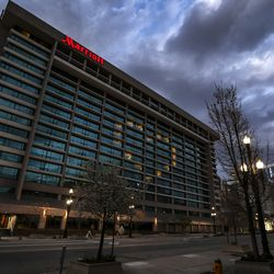 Room lights at the Salt Lake Marriott Downtown at City Creek form the shape of a heart in Salt Lake City on Tuesday, March 31, 2020.