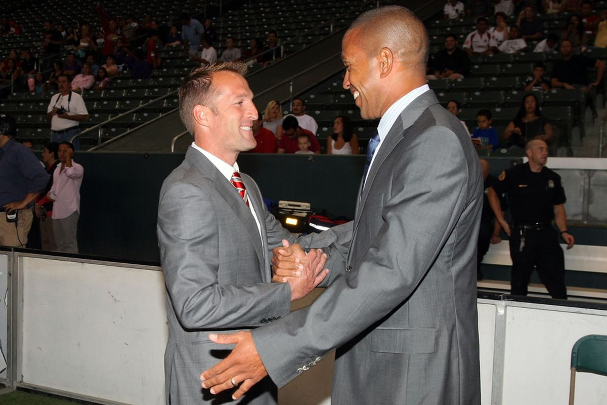 CARSON, CA - AUGUST 27:  Any handshake deals going on here? (Photo by Victor Decolongon/Getty Images)