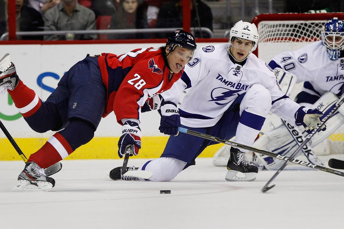 WASHINGTON, DC - MARCH 08: Alexander Semin #28 of the Washington Capitals goes after the puck during the second period against the Tampa Bay Lightning at the Verizon Center on March 8, 2012 in Washington, DC.  (Photo by Rob Carr/Getty Images)
