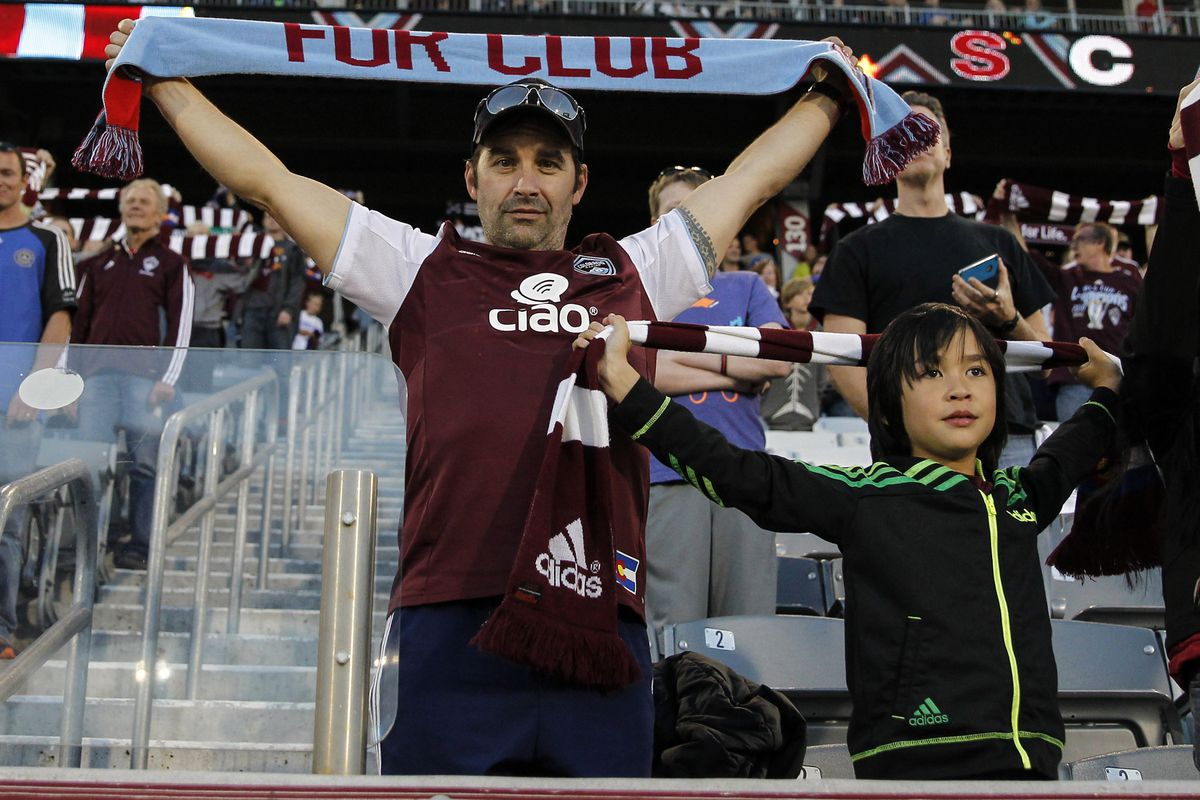 Rapids fans stand up at the Portland Timbers match