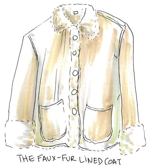An illustration of a fur coat