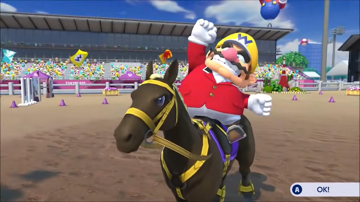 wario on a horse, celebrating