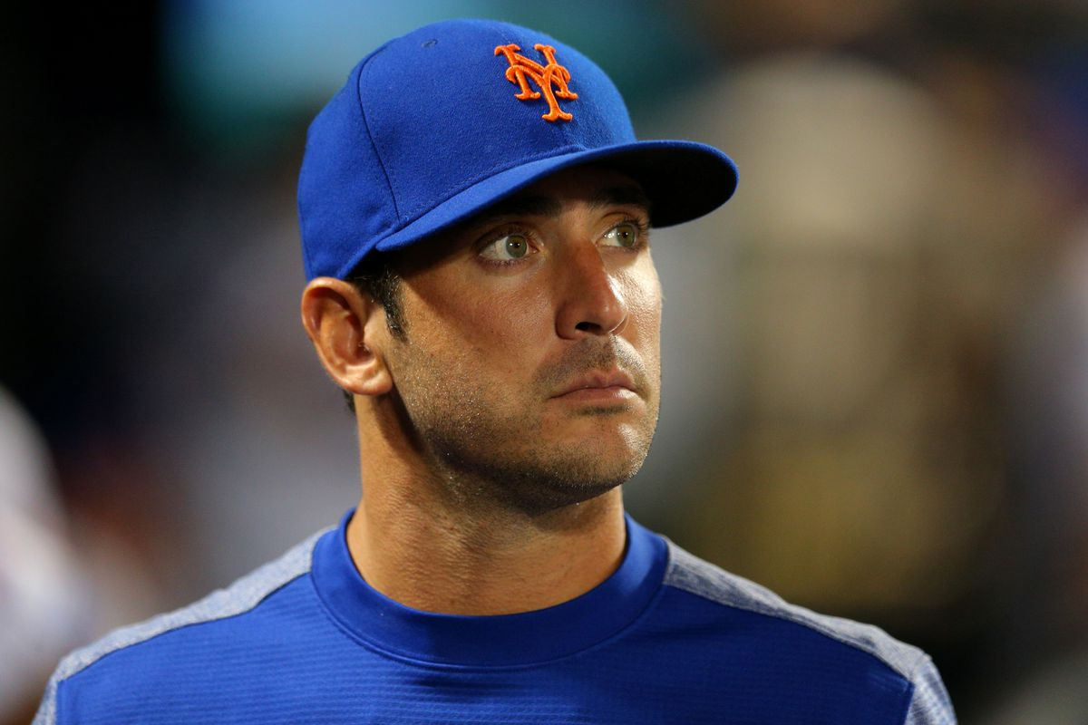 Mets starting pitcher Matt Harvey (33) in the dugout during the eighth inning against the New York Yankees at Citi Field. Harvey pitched three innings in a rehab start for the Brooklyn Cyclones earlier tonight.