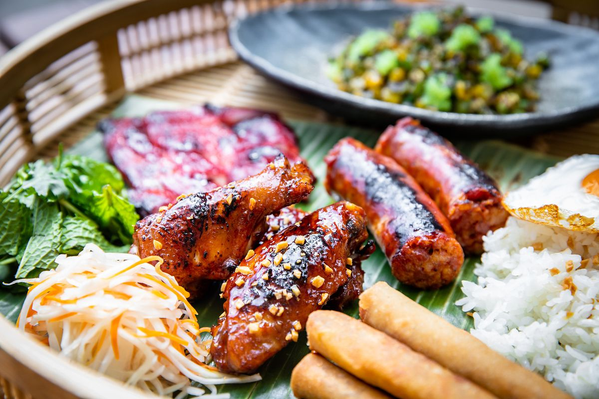 Kasama features chicken wings, tocino, loganiza, and lumpia Shanghai.