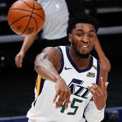 Utah Jazz guard Donovan Mitchell (45) makes a pass during an NBA preseason game at Vivint Smart Home Arena in Salt Lake City on Saturday, Dec. 12, 2020.